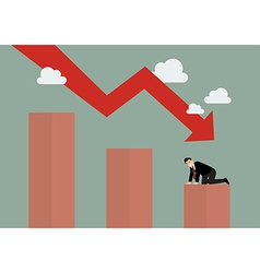 Bar graph down with desperate businessmen vector image