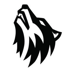 black wolf howl emblem vector image vector image
