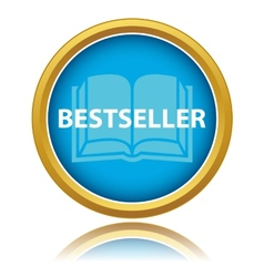 Blue gold best seller icon vector image