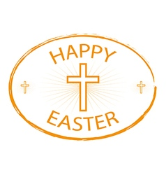 happy easter day stamp style with cross vector image