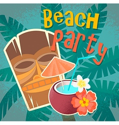 Hawaiian mask and cocktail in coconut vector image