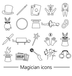 magician and magic theme set of outline icons vector image vector image