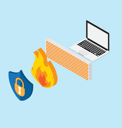 network security concept with firewall vector image vector image