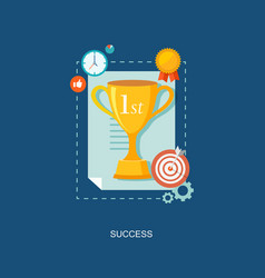 Winners award with icons flat vector