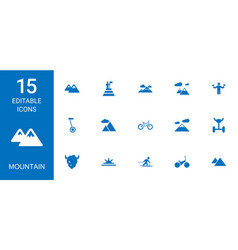 15 mountain icons vector image