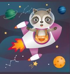 A cute raccoon in space galaxy vector