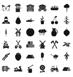 Agronomy icons set simple style vector