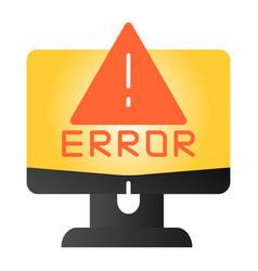 Alert on computer flat icon computer error color vector
