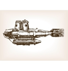 Antique submarine hand drawn sketch vector