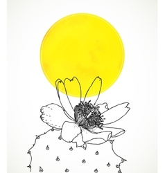 Ard with botanical drawing cactus flower vector