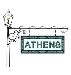 Athens retro vintage lamppost pointer vector