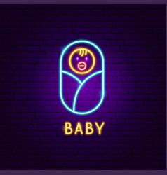 baby neon label vector image