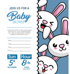 baby shower card with rabbit vector image
