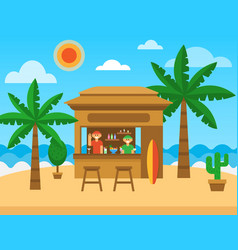 Beach bar exotic summer restaurant on sea coast vector