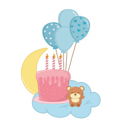 birthday cake with candles and toy bear vector image