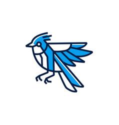 blue jay bird logo icon vector image