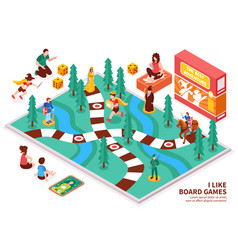 Board game isometric composition vector