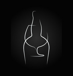 Brandy glass logo bottle on black background vector