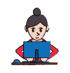 Cartoon cute girl using blue computer working vector