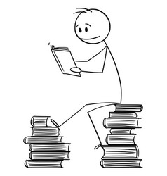 cartoon man sitting on pile books and vector image