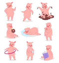 Cartoon pig piglet or piggy character vector