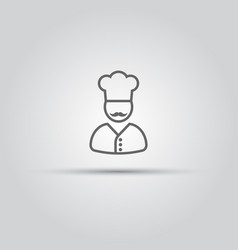 chef with mustache isolated line icon vector image