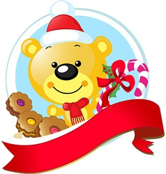 christmas design with cute bear vector image