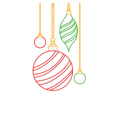 Color line oval and circle balls hanging vector