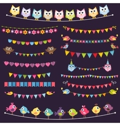 Colorful flags and garlands set with birds vector