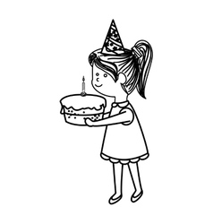 Cute little girl character with cake vector