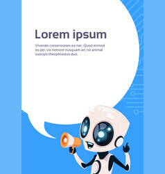 cute robot chatbot holding megaphone message over vector image