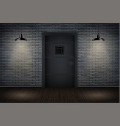 Dark brick wall and prison or loft interior vector