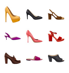 design of footwear and woman logo set of vector image