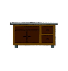 Desk furniture work office image vector