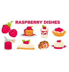 desserts or raspberry dishes berry cooking vector image