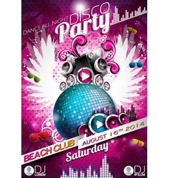 disco party flyer design with ball vector image