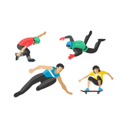 drawing jumping extremesilhouettes vector image