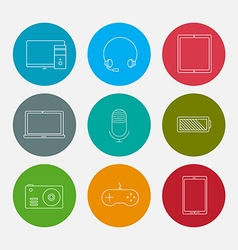 Electronic computer device icons set vector