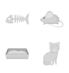 Fish bone mouse cat s toiletcat set collection vector