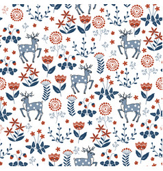 Floral seamless pattern with deers vector