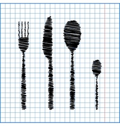 fork spoon knife with pen effect on paper vector image