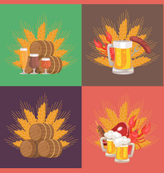 Four sets of beer composition vector