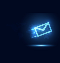 Futuristic blue express envelope and parcel vector