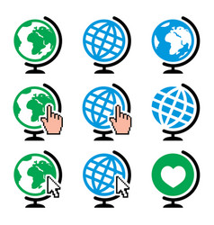 globe earth icons with cursor hand vector image