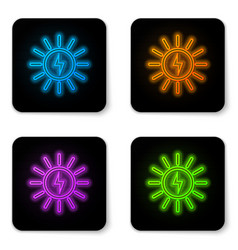 glowing neon solar energy panel line icon vector image