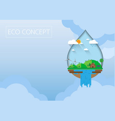 green eco concept with flat design vector image
