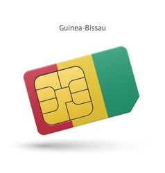 Guinea-Bissau mobile phone sim card with flag vector