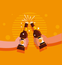 hands with bottles of beers toast vector image