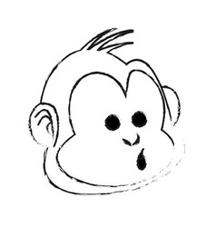 Happy smiling monkey cartoon icon image vector