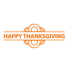 happy thanksgiving logo simple style vector image
